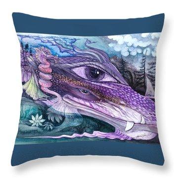 Dual Dragons Throw Pillow