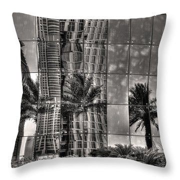 Throw Pillow featuring the photograph Dubai Street Reflections by Julis Simo