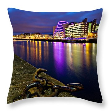 Dublin Docklands At Night / Dublin Throw Pillow