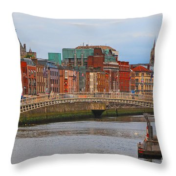 Dublin On The River Liffey Throw Pillow by Mary Carol Story