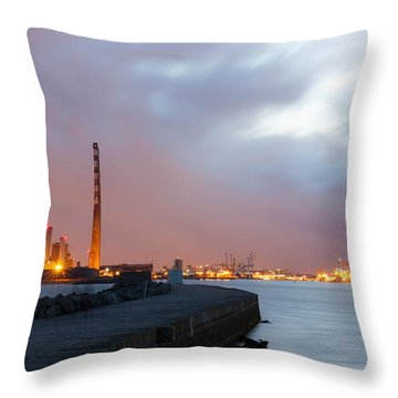 Dublin Port At Night Throw Pillow by Semmick Photo