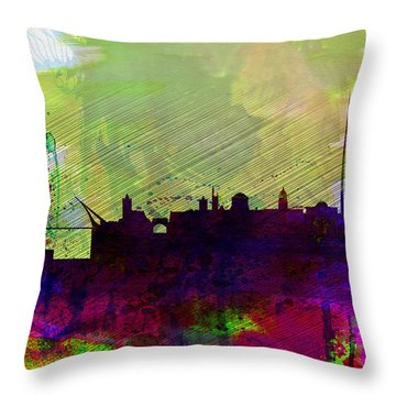 Dublin Watercolor Skyline Throw Pillow