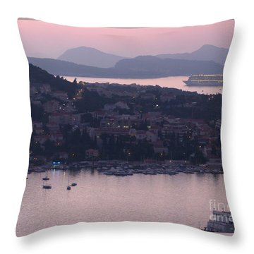 Throw Pillow featuring the photograph Dubrovnik Harbour At Dusk by Phil Banks