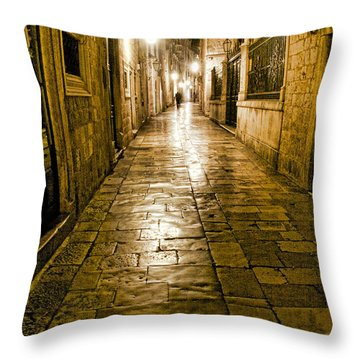 Dubrovnik Streets At Night Throw Pillow
