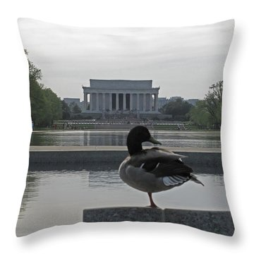 Duck And Lincoln Memorial   #0850 Throw Pillow