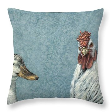 Duck Chicken Throw Pillow by James W Johnson