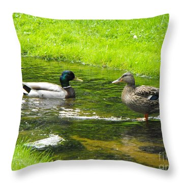 Duck Couple Throw Pillow