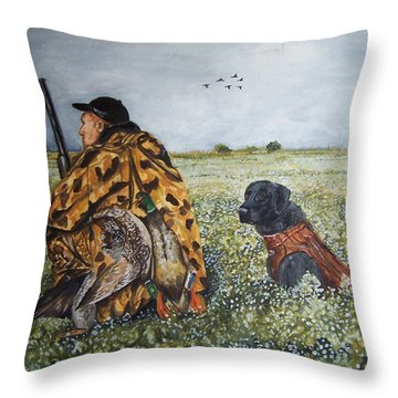 Duck Hunters Throw Pillow