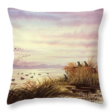 Duck Hunting Companions Throw Pillow by Bill Holkham
