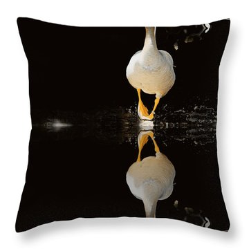 Duck On Stage Throw Pillow by Christine Sponchia