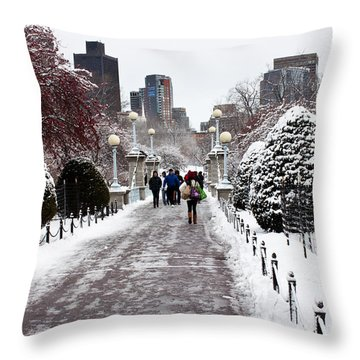 Duck Pond Bridge Throw Pillow