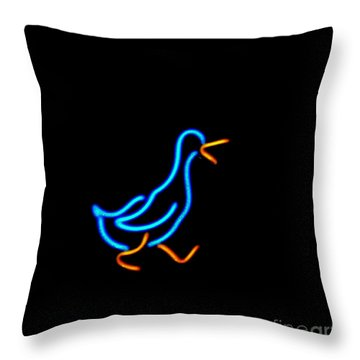 Duck Room Mascot Throw Pillow by Kelly Awad