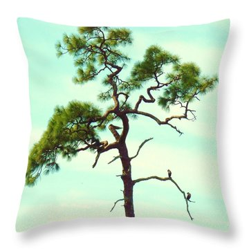 Duck Tree Throw Pillow