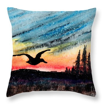 Ducking The Storm Throw Pillow
