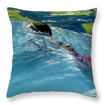 Ducking Under A Wave In A Pool Throw Pillow