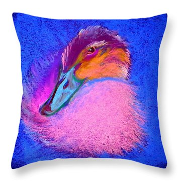 Duckling Pretty In Pink Throw Pillow