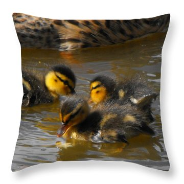 Duckling Splash Throw Pillow