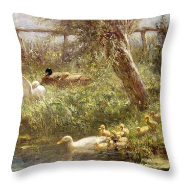 Ducks And Ducklings Throw Pillow