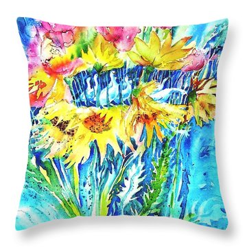 Throw Pillow featuring the painting Ducks And Sunflowers  by Trudi Doyle