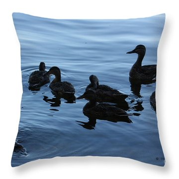 Ducks At Dusk Throw Pillow