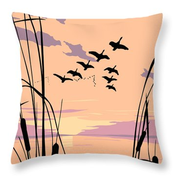 Ducks Flying Over The Lake Abstract Sunset - Square Format Throw Pillow
