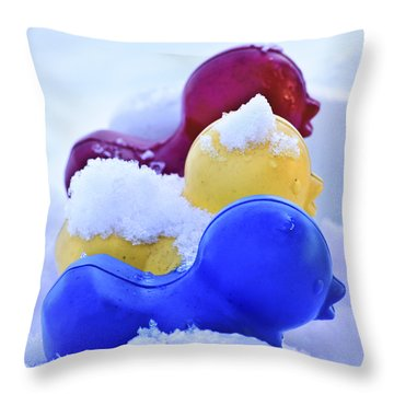 Ducks In A Row Throw Pillow by Christi Kraft
