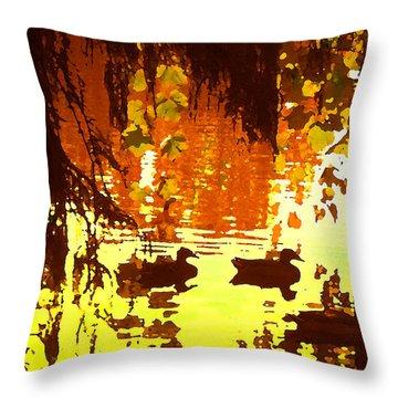 Ducks On Red Lake Throw Pillow