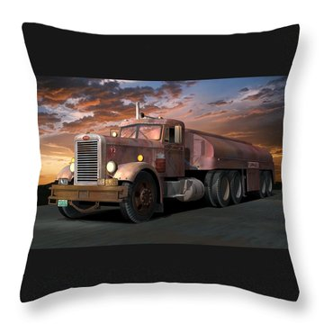 Duel Truck With Trailer Throw Pillow
