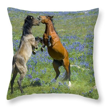 Dueling Mustangs Throw Pillow