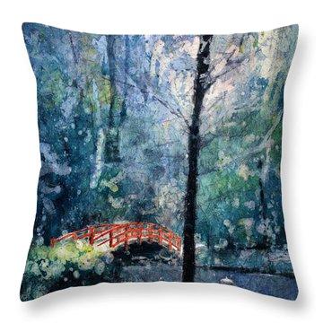 Duke Gardens Watercolor Batik Throw Pillow