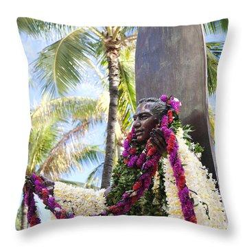 Duke Kahanamoku Covered In Leis Throw Pillow by Brandon Tabiolo