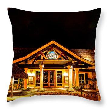 Throw Pillow featuring the photograph Duke's Restaurant Front - Huntington Beach by Jim Carrell