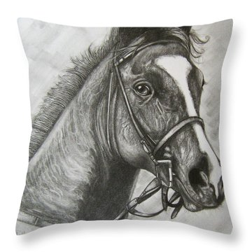 Throw Pillow featuring the drawing Dullahan by Patrice Torrillo