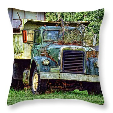 Dump Truck Throw Pillow by Ron Roberts