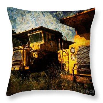 Dump Trucks Throw Pillow by Amy Cicconi
