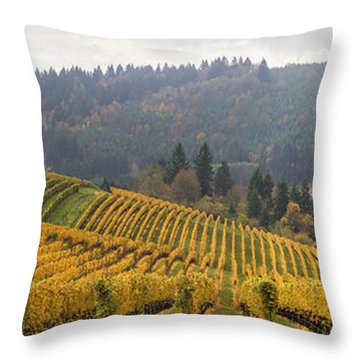 Dundee Oregon Vineyards Scenic Panorama Throw Pillow by Jit Lim
