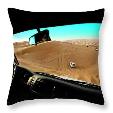 Dune Bashing In The Empty Quarter Throw Pillow