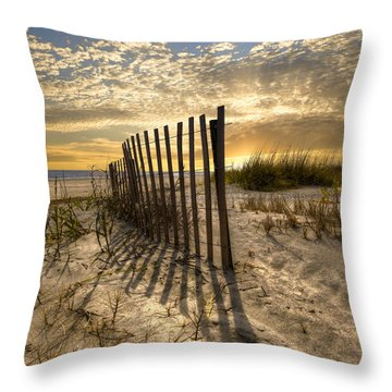 Dune Fence At Sunrise Throw Pillow by Debra and Dave Vanderlaan