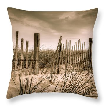 Dune Fence Throw Pillow by Brian Caldwell