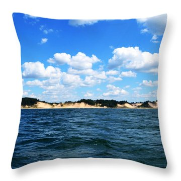 Dunes And Lake Michigan Throw Pillow by Michelle Calkins