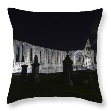 Throw Pillow featuring the photograph Dunfermline Abbey By Night   The Palace   6 Of 6 by Ross G Strachan
