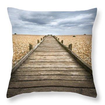 Dungeness Beach Walkway Throw Pillow