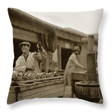 Dungeness Crabs At Fisherman's Wharf At San Francisco California. Circa 1935 Throw Pillow