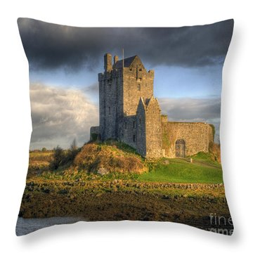 Dunguaire Castle With Dramatic Sky Kinvara Galway Ireland Throw Pillow