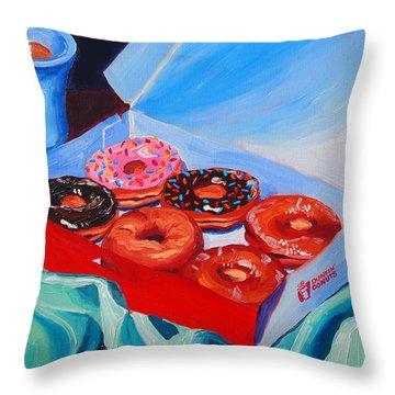 Dunkin Donuts Throw Pillow by Sean Boyce