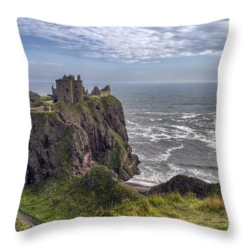 Dunnottar Castle And The Scotland Coast Throw Pillow