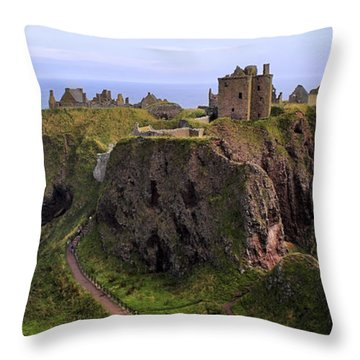 Dunnottar Castle Panorama Throw Pillow