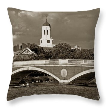 Weeks Bridge Charles River Bw Throw Pillow by Tom Wurl