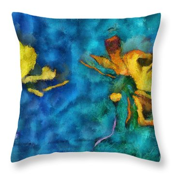 Duo Daisies - 01c2t5dp01e Throw Pillow by Variance Collections