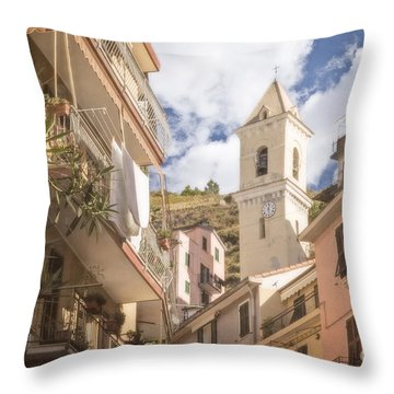 Duomo Bell Tower Of Manarola Throw Pillow
